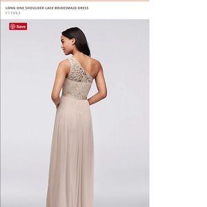 David's Bridal Dresses - Long one shoulder lace bridesmaids dress